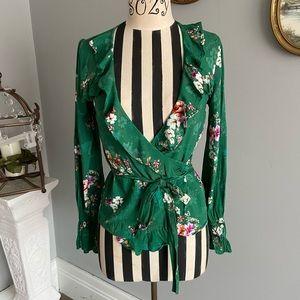 ✨H&M✨ green floral wrap blouse